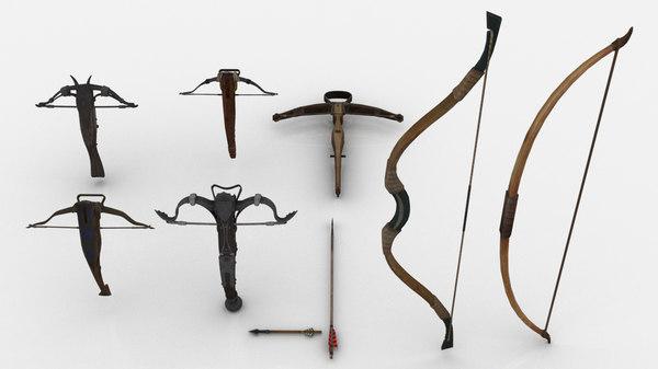 set medieval bows crossbows 3D model