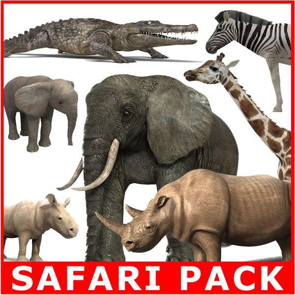6 animals safari pack c4d