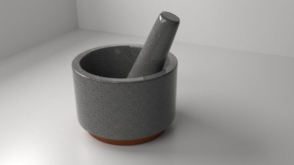 3D ceramic stone mortar pestle model