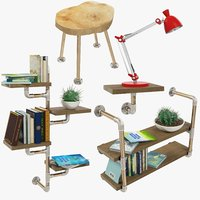 loft furniture accessories shelf 3D model