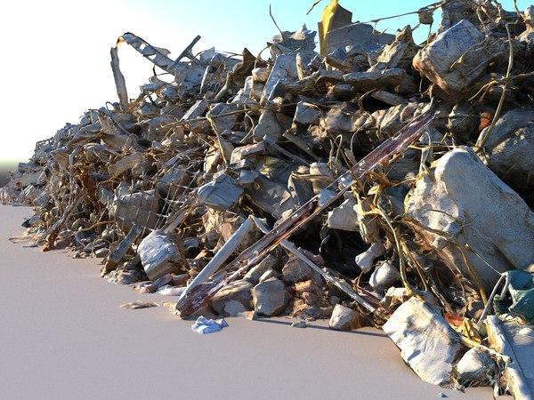 3D model barricade wall debris ultra