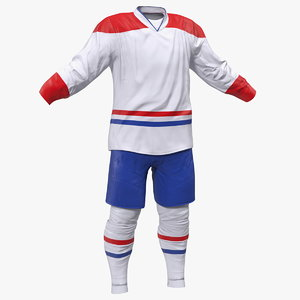 3D hockey clothes white model