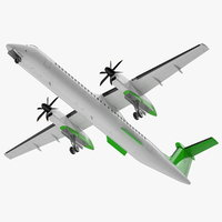 3D twin turboprop passenger airplane
