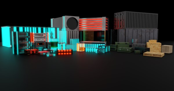 3D crates cages containers