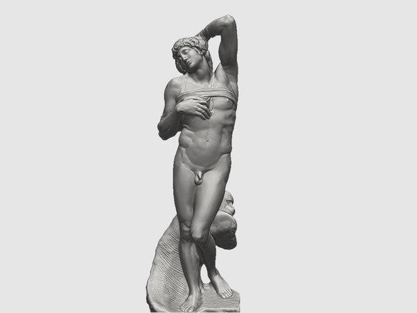 3D sculpture dying slave michelangelo model