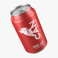 Beverage Can With Water Droplets 3D Model 350ml
