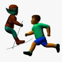 Cartoon Run Skier