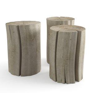 3D wood stub tables model