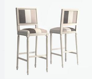 3D bar stool luigi xvi model