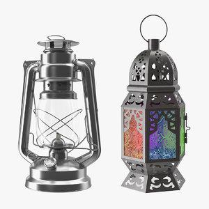 3D lanterns kerosene lamp model