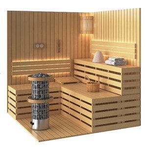 3D set sauna model