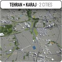 tehran - karaj surrounding 3D model