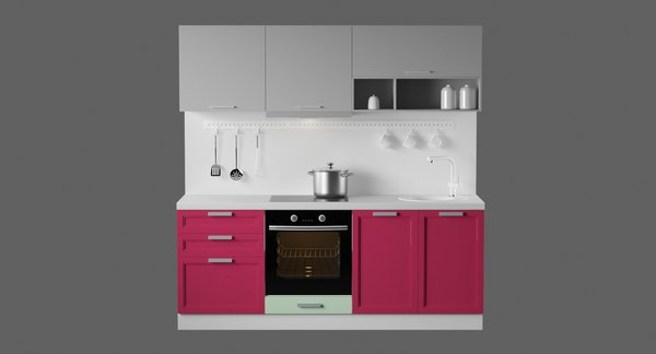 modular kitchen design interiors 3D model