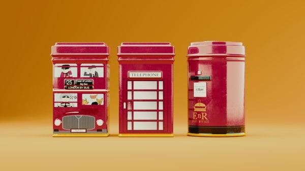 3D english metal box model