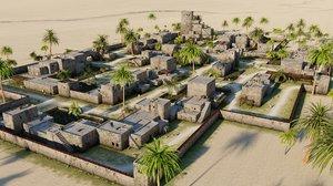 3D village desert scene houses