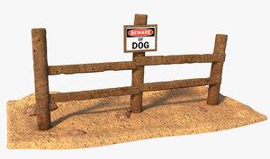 fence sign dog model