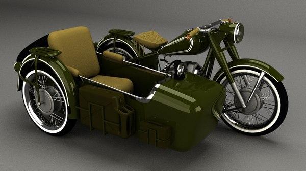 3D model old motorcycle motor
