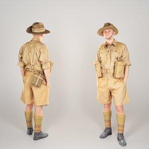 australian infantryman character pose 3D model