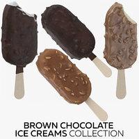 3D model brown chocolate ice creams