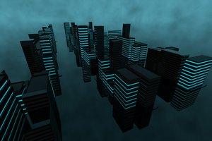 buildings city futuristic 3D model
