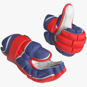 hockey gloves rigged 3D model