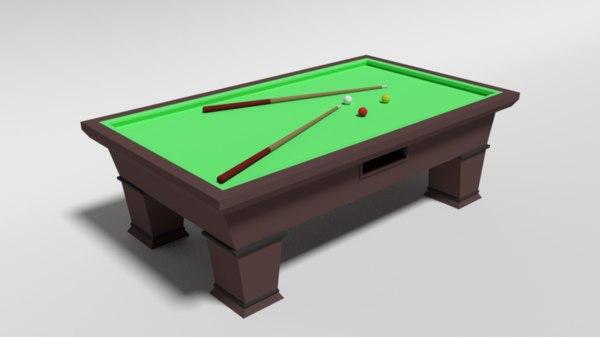 3D carom billiard table model