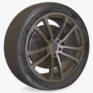 3D abandoned car flat tire model