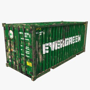 3D model shipping container evergreen