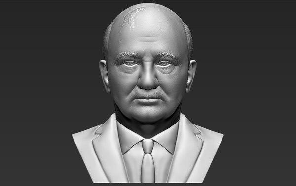 3D mikhail gorbachev bust ready