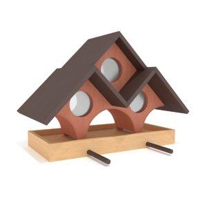 wooden bird feeder triple model