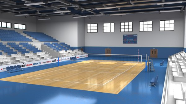 realistic school gym 3D model