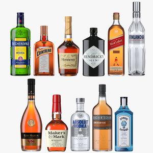 spirits bottles 3D model