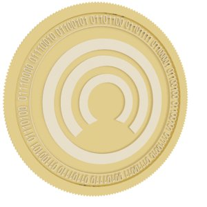 3D cloakcoin gold coin model