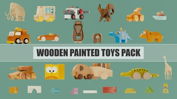 3D wooden toys pack model