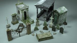3D gravestones shrines pack grave model