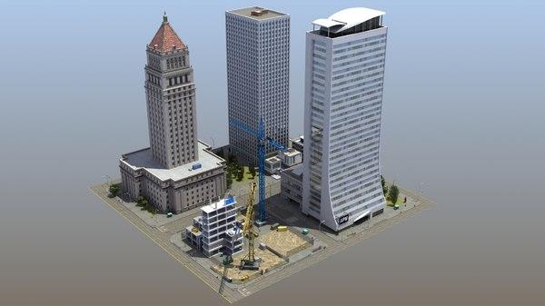 downtown city block 3D