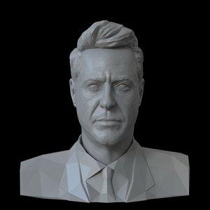 3D portrait robert downey jr