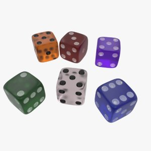 3D glass colored transparent dices model