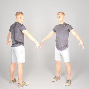 scanned human man body 3D model
