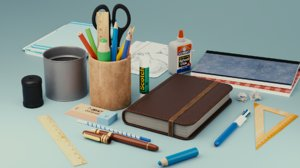 3D school supplies pack
