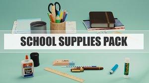 3D school supplies pack
