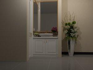 bathroom set big mirror 3D model