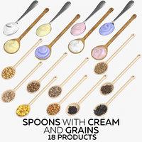 3D model spoons cream grains -
