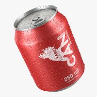 Beverage Can With Water Droplets 250ml 3D model