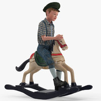 3D model vintage rocking horse child boy