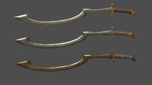 3D sword weapon khopesh model
