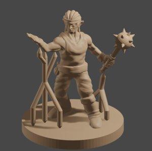 dnd male elf warmage 3D model