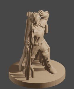3D female elf staff model