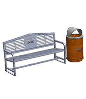 sports trash bin bench 3D