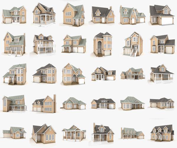 hi-poly cottages mega pack 3D model